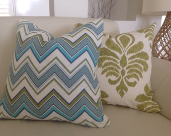 Chevron Cushions  Zig Zag Pillows Turquoise Blue White chevron AVALON Designer Cushions Modern Cushion Covers