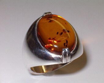 Sterling Silver/16x12mm Oval Genuine Amber Heavy Smooth Dome Ring