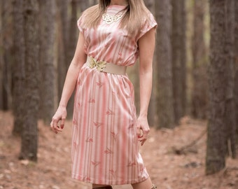 Vintage Rose Pink And Taupe Dress (Size Small/Medium)