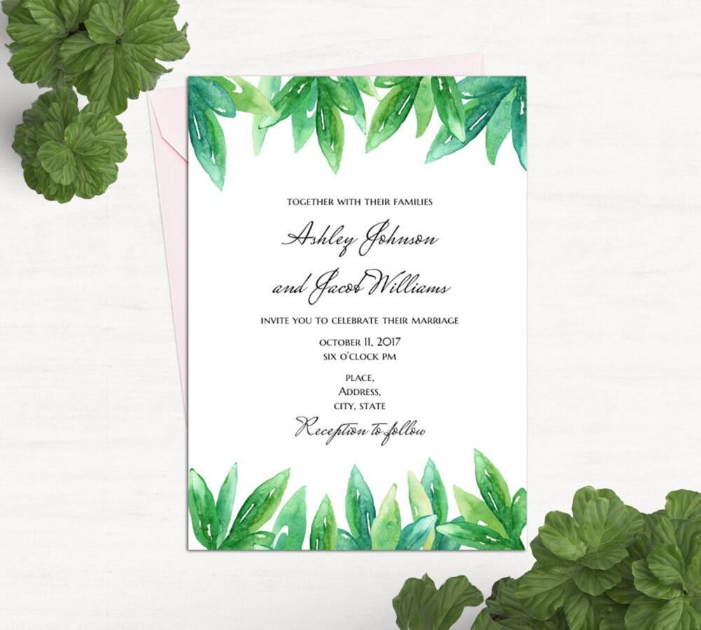 Greenery wedding invitation card template Green wedding Summer