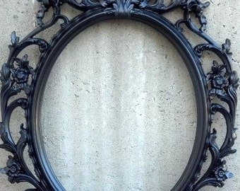 BLACK OR WHITE Vintage Style Frame Only/ Baroque Oval Round Shabby Chic Wedding Glam Hanging Wall Ornate With Mirror Halloween Choose Color