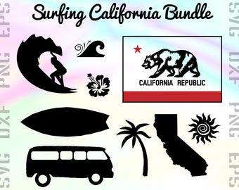 Surfing SVG Files - California Cricut Files - Surfing Clipart - Surfing Dxf Files - Surfing Cut Files - Surfing Silhouette - California Png