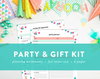 Party and Gift Kit - Party Planner, Gift Tracker, Gift Planner, and Address and RSVP Tracker Printables - INSTANT DOWNLOAD