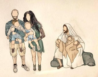 Watercolor Family Portrait with Christ