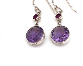 Sterling Silver sn Round Amethyst Earrings