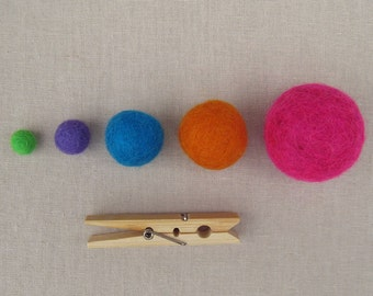 1 cm Wool Felt Balls - Your Choice of Colors and Quantity 10 pcs  up to 250