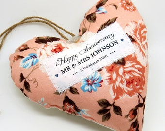 Happy Anniversary Present - Personalised Wedding Anniversary Gift. Fabric heart made in your choice of fabric. Gift Boxed. Made in UK