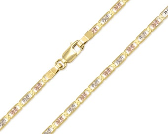 "10K Solid Yellow White Rose Gold Valentino Necklace Chain 3.3mm 16-24"" - Tri Color Link"