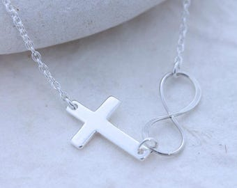 INFINITY Necklace . Silver Sideways Cross, Sister gift . Silver Infinity necklace, Gift Ideas, Sister, Mom gift, Monyart original design