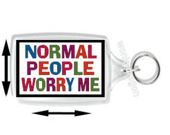 keyring double sided , normal people worry me, keychain, keyfob -  novelty & funny new keychains key rings