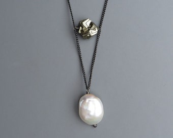 Natural Raw Pyrite Crystal White Pearl Black Silver Necklace
