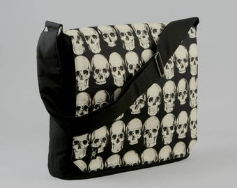Skulls Large Black Canvas Messenger Bag, 13 - 15 Inch Laptop, Realistic Skulls, Tablet Phone Zipper Pockets