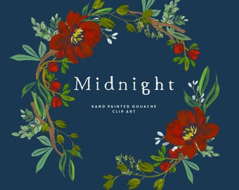 Hand Painted Floral Clipart - Midnight