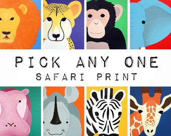 Safari nursery art. Safari animal prints. Choose ANY 1 modern picture for baby, art, zoo for kids rooms and playrooms in purple and yellow