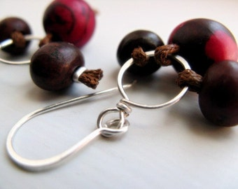 Acai Seed Earrings Sterling Silver - Eco Friendly  / Tango Pink