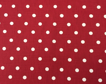 Fabric cotton red and White Polka Dot, modern fabric