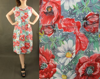 Poppies dress, Floral Apron dress , red flowers, pockets