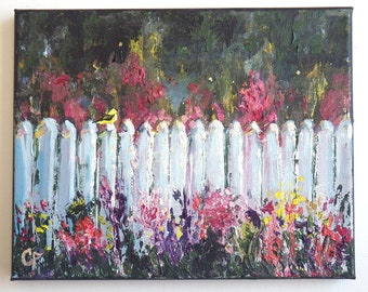 Flower garden with fence and goldfinch, spring garden with white picket fence, impressionist 8x10 in oil and acrylic