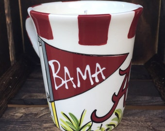 Licensed University of Alabama, Ceramic Coffee Mug with my Hand Poured, Soy Candle, Choose Your Scent