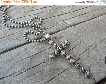 """ON SALE Handmade cross necklace in sterling silver with a 20"""" long 3mm beaded chain also in sterling silver"""