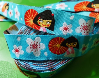 Discounted 50% Japanese Doll Sakura -Woven Jacquard Ribbon - 1.5cm  x 1 meters (JR-026)