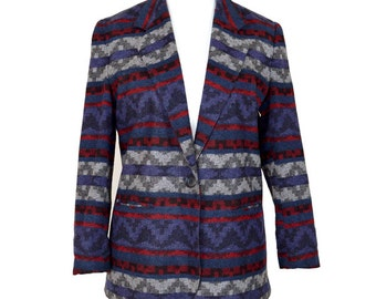 Aztec Boxy Blazer in Mixed Palette UK 12