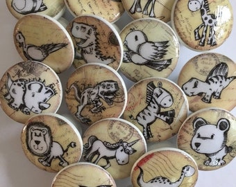 SALE15 6 dresser pulls wood knobs decorated with cute animal images 1 1/2 inch set of 6 decoupage