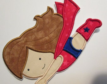 Super Flying Girl and Super Flying Boy - Super Hero Iron On or Sew On Embroidered Applique