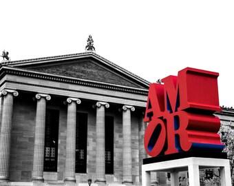 Philly Museum of Art - Philadelphia Photo - Wall Decor - Philadelphia Photography - Philadelphia Art - Philly Love - Love Statue