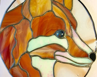 Stained Glass Fox Sun Catcher/Panel