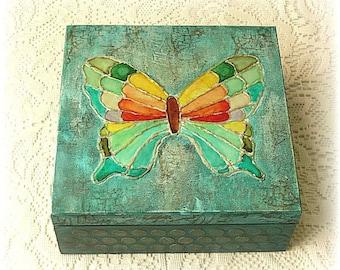 Wooden mixed media box , mixed media box , keepsake box , treasury box , jewelry box , hand painted butterfly box
