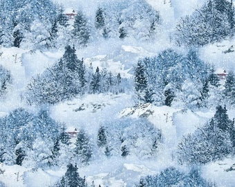 Elizabeth's Studio 'Scenic Snow' Fabric By The Yard; Landscape Medley, 529 Snow