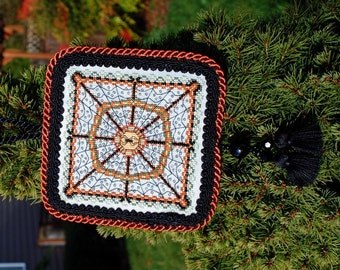 Halloween Cross Stitch Instant Download PDF Pattern Spider's Garden Ornament. Spiders Web Counted Embroidery. Geometric Mandala X Stitch