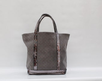 Tote bag, handbag, grey with grey sequin, 100% Suede, accessories women AandMmilady