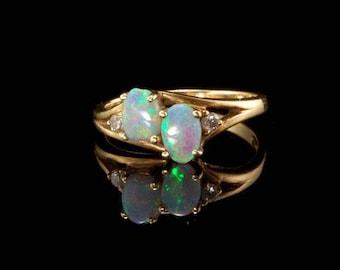 Vintage Blue Opals Diamonds 14k Gold Ring