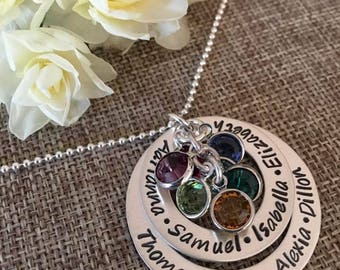 Mom Birthstone Name Necklace - Hand Stamped 925 Mother Necklace - Family Necklace - Layered Washer Necklace - Grandkids Necklace