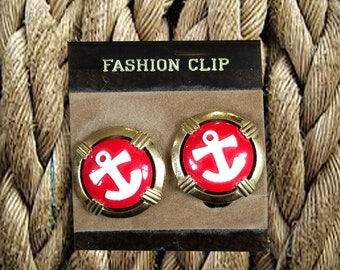 SALE - Darling Anchor Clip-On Earrings