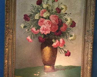 Signed L. Kesregi Early 20th C. Still Life painting of Carnations
