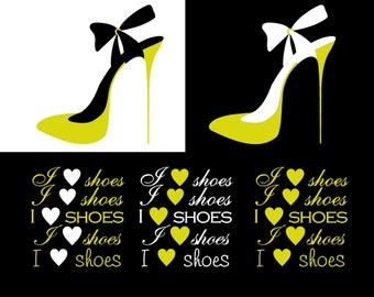 Yellow and Black High Heel Shoe I Heart Shoes I Heart Shoe Clipart - INSTANT DOWNLOAD