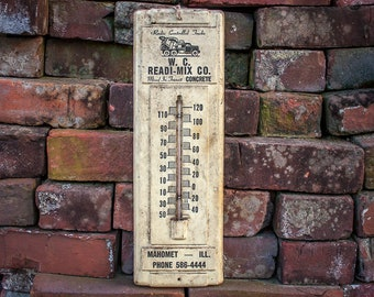 Mahomet Illinois Concrete Advertising Thermometer Vintage Sign