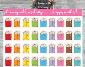 Happy Mail Stickers (Choose from 2 Color Sets)
