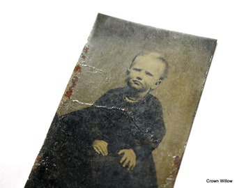 Vintage Tin Type Photograph of a Child - Small Picture - Home Decor