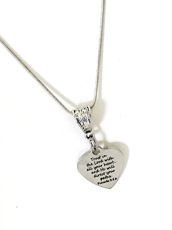 Christian Gift, Christian Jewelry, Christian Necklace, Trust In The Lord With All Your Heart, Bible Verse Scripture Gift, He Will Direct