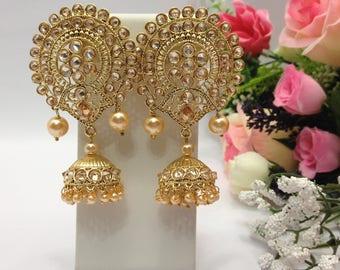 Handmade Jhumka Earrings with Cubic Zirconia & Pearl Imitation Indian Wedding jewelry Pakistani Bollywood Jewelry Earrings indian jewellery