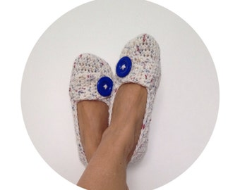 White Red Midnight BlueTweed with Sapphire Button Crochet Womens Slippers, Ballet Flats, House Shoes