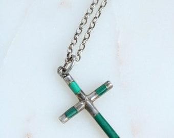 Malachite Cross Pendant Necklace - Sterling Cross Pendant