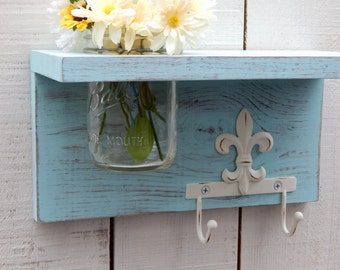 Rustic Wood Shelf With Fleur Di Lis, Distressed Shabby Chic, Aqua, Cottage  Home