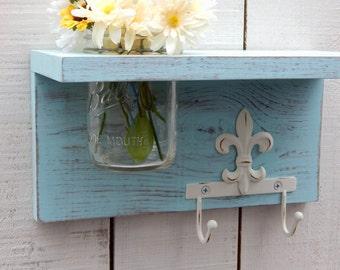 Rustic Wood Shelf With Fleur Di Lis, Distressed Shabby Chic, Aqua, Cottage  Home
