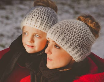 Mommy and Me Messy Bun Hat- Messy Bun Ombre Hat- Mommy and Me Ponytail Hat- Mommy and Me outfit- Crochet Messy Bun Hat- Messy Bun Beanie
