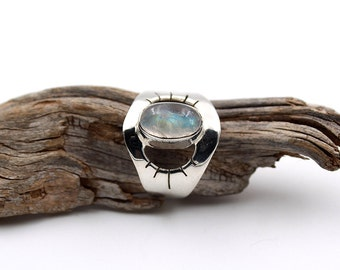 Rainbow Moonstone ring, Moonstone Stone, Silver ring, Rainbow ring, 925 Silver ring, Moonstone Silver ring, Moonstone Ring US 6.25 / FR 53.5